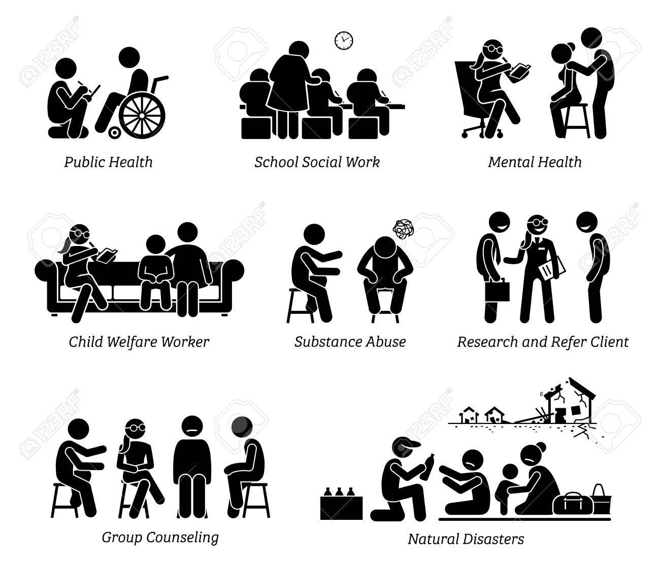 Social Workers Stick Figure Pictogram Icons. Illustrations depict social worker on public health, school, child welfare, substance abuse, research refer client, natural disaster and group counseling. - 89056989