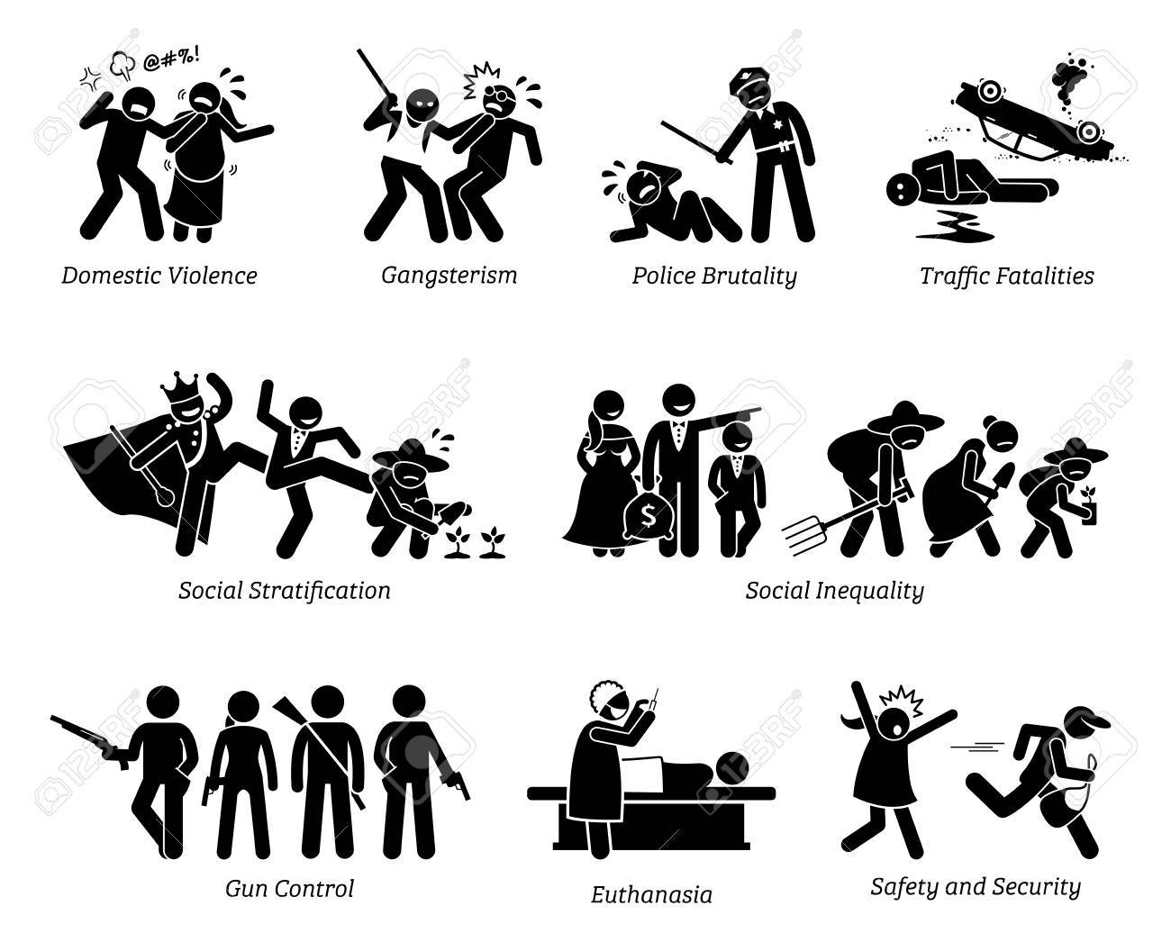 Social Problems and Critical Issues Stick Figure Pictogram Icons. Illustrations depicts domestic violence, gangster, police brutality, social inequality, gun control, euthanasia, safety and security. - 89057001