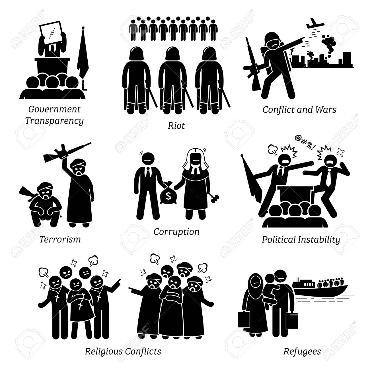 Social Issues World Problems Pictogram Icons. Illustrations depicts government transparency, riot, civil war, conflict, terrorism, corruption, political instability, religious conflicts, and refugee. - 89056999