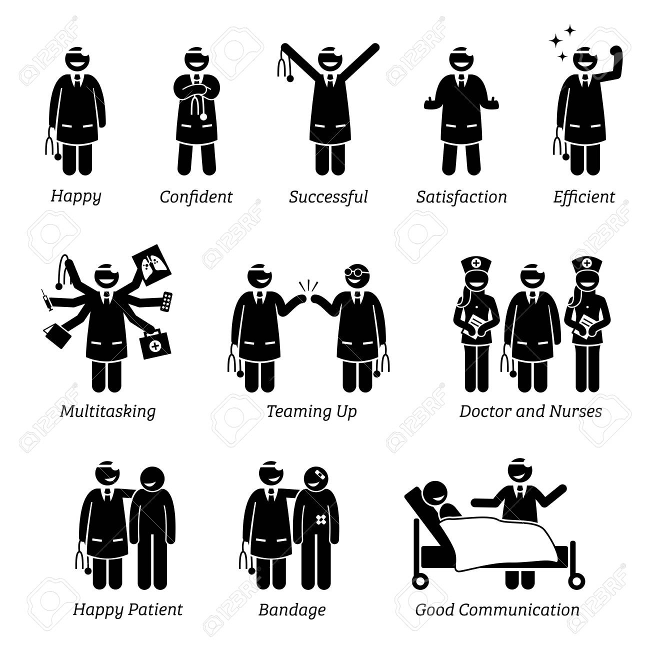 Happy and Cheerful Doctor. Stick figure pictogram depicts a doctor that is feeling confident, successful, and satisfied. The doctor can do multitasking and love his work job at the clinic and hospital - 92871789