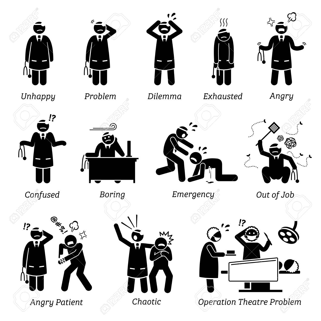Busy and Unhappy Doctor. Stick figure pictogram depicts a doctor that is feeling unhappy, dilemma, exhausted, angry, confused, and boring. Doctor is having a lot of problems in clinic and hospital. - 92871786