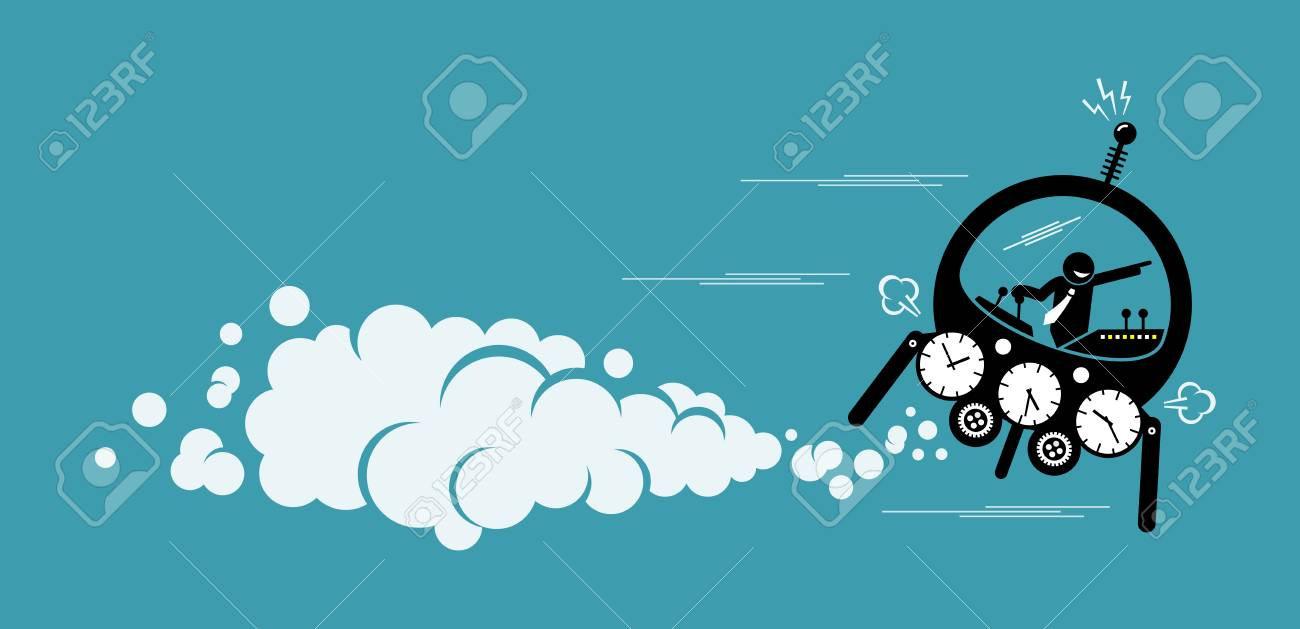 Businessman flying in a time machine going to the future or past. Vector artwork depicts time machine, back to the past, changing history and finding out about the future. - 102874968