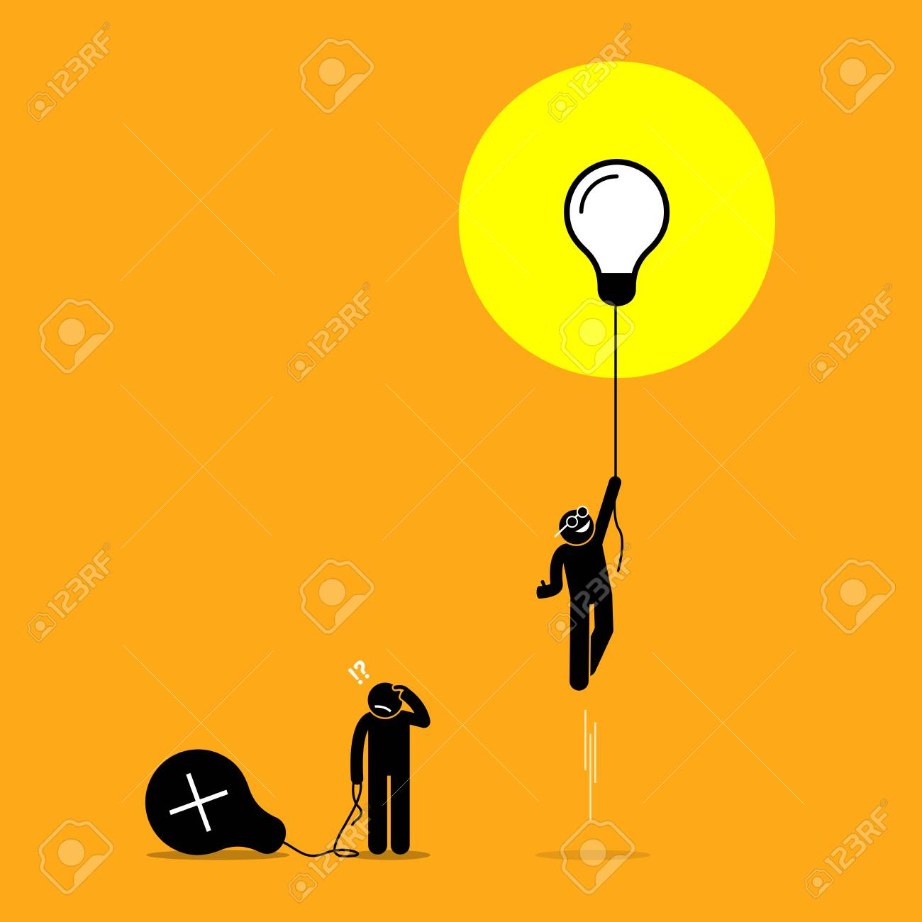 Two person created different ideas but only one is having success, while the other fails. Vector artwork shows the concept of idea success and failure. - 103679216