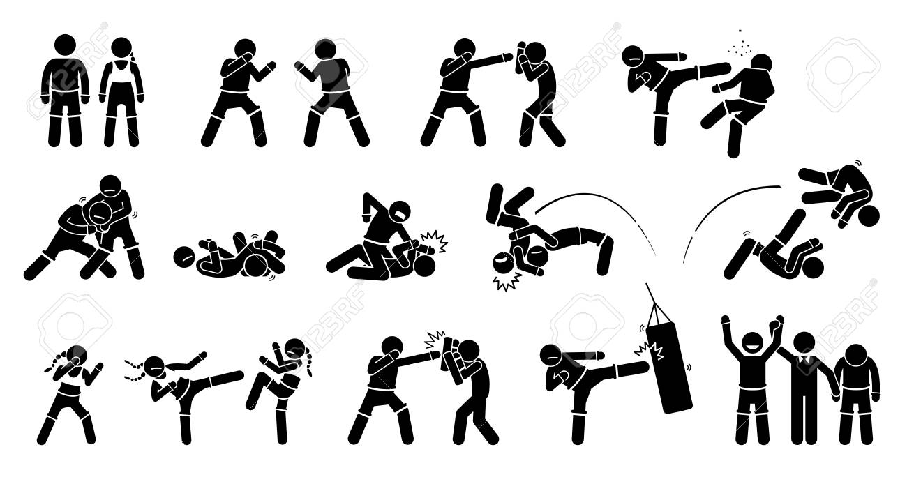 Mma Mixed Martial Arts Actions Pictogram Depicts Mma Fighters Royalty Free Cliparts Vectors And Stock Illustration Image 106999169