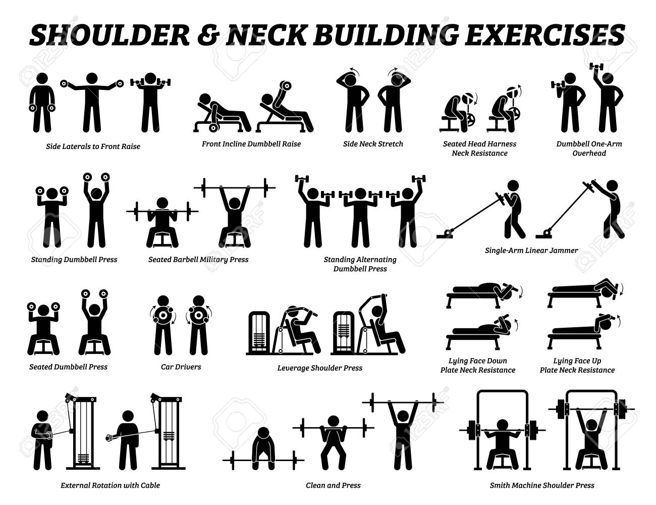 Shoulder and neck building exercise and muscle building stick figure pictograms. Set of weight training reps workout for shoulder and neck by gym machine tools with instructions and steps. - 120637900