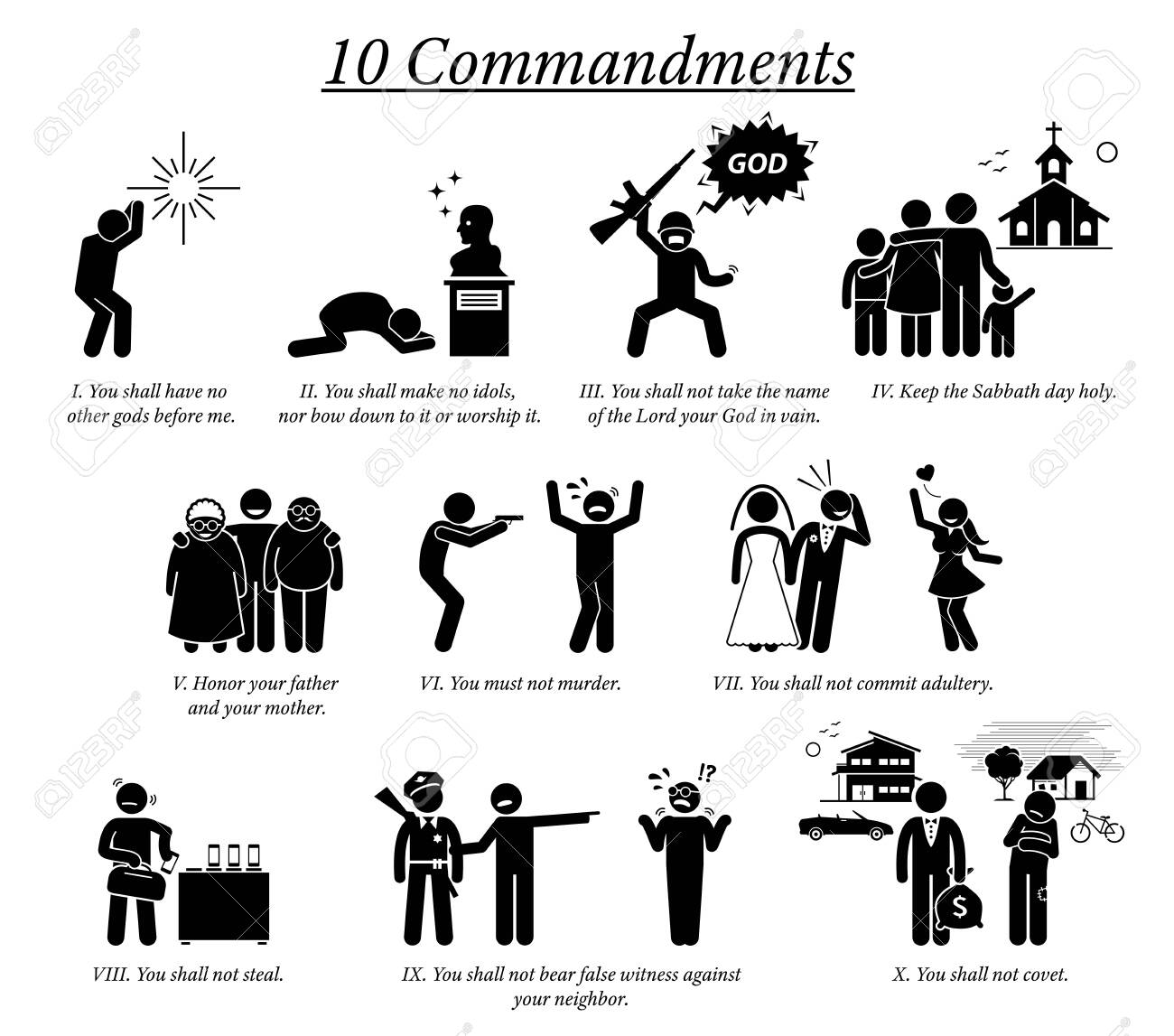The 10 Commandment icons and pictogram. Illustration depict Ten Commandments teaching, beliefs, and moral value by Christian God religion. - 131630288