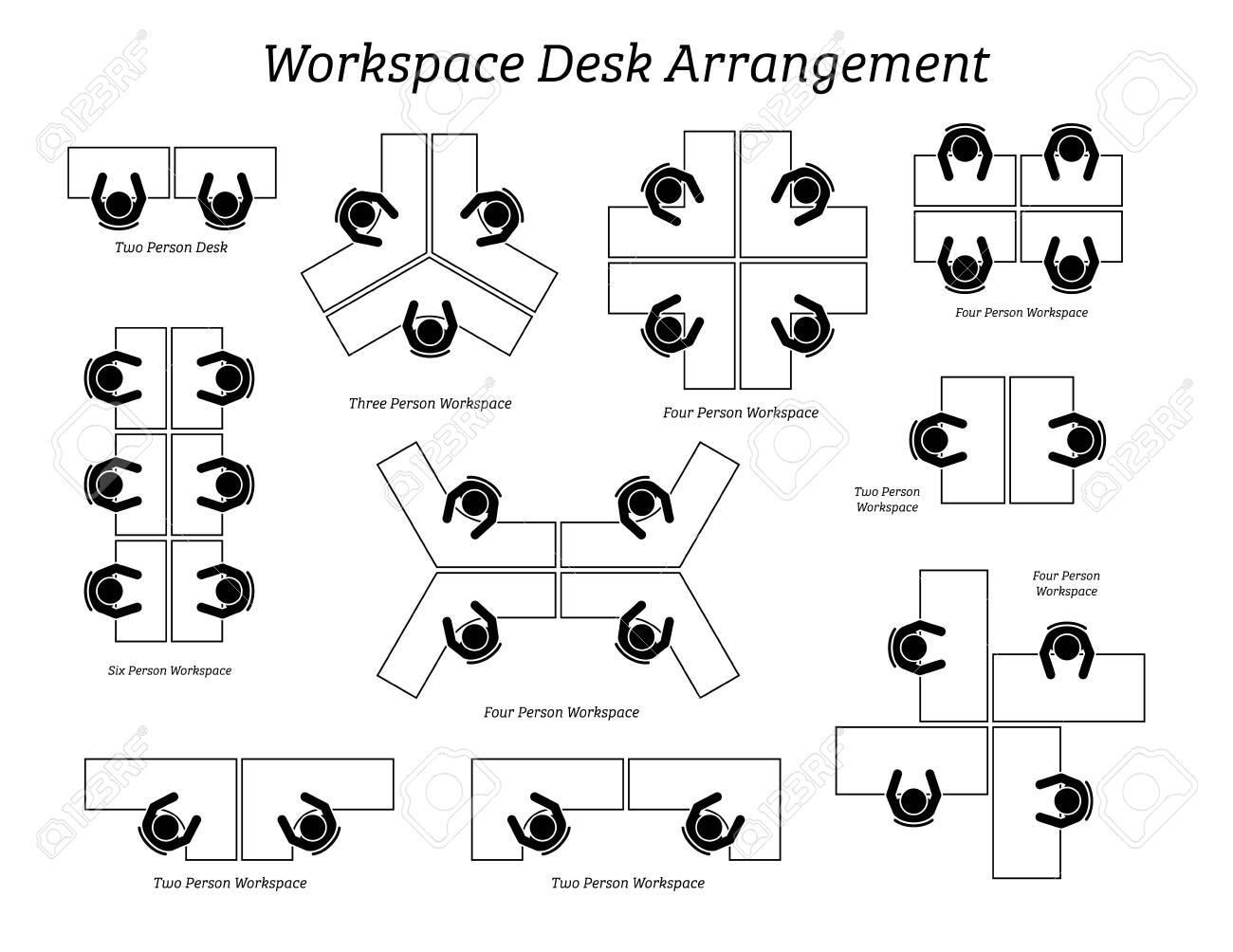 Workspace desk arrangement in office and company. Pictogram icons depict the top view of table arrangement and seatings for office employees, staffs, and workers. - 134201522