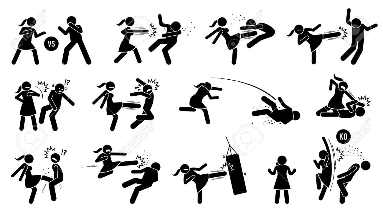 Woman beating man stick figure sign and symbols. Vector illustration of female versus male fighting by punching, kicking, slapping, throwing, and uppercut. The girl is strong and winning the fight. - 158130382