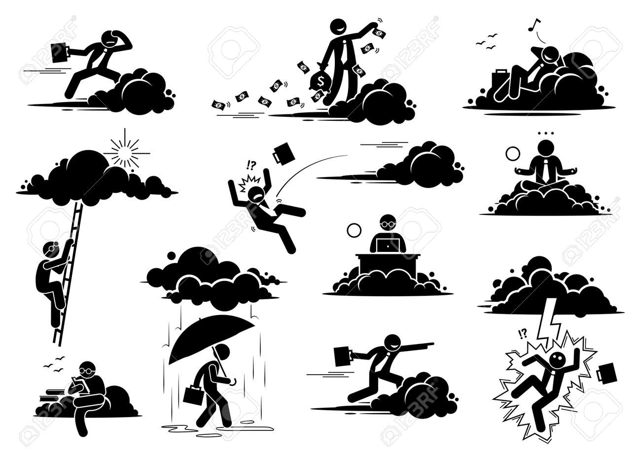 Businessman working in the cloud or sky. Vector illustrations of a business man flying, throwing money, resting, working, and reading on a cloud. Bad luck person struck by lightning or thunder. - 162714832