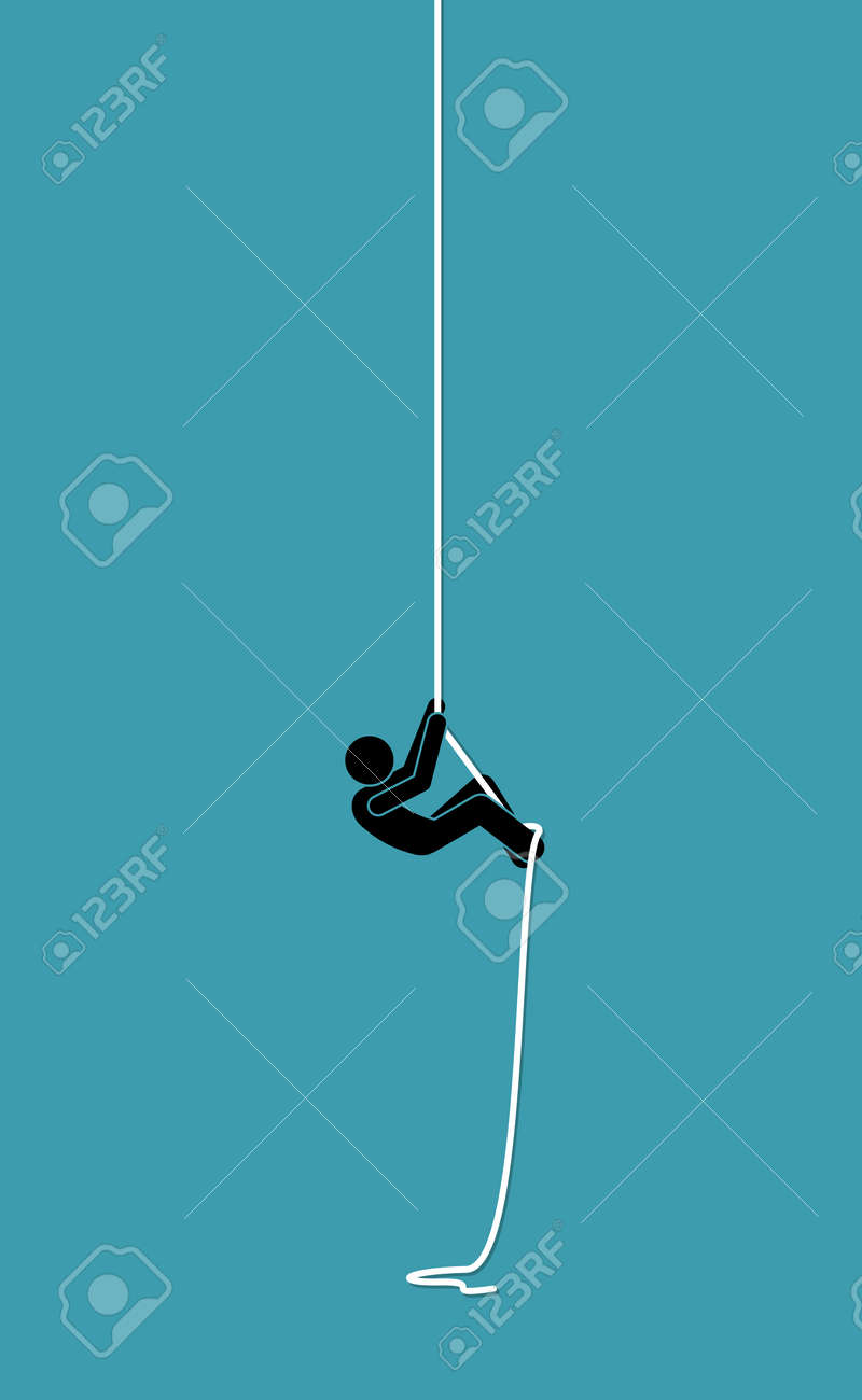 Stick figure man climbing up on a rope. Vector illustration concept of determination, effort, strength, and challenge. - 165737813