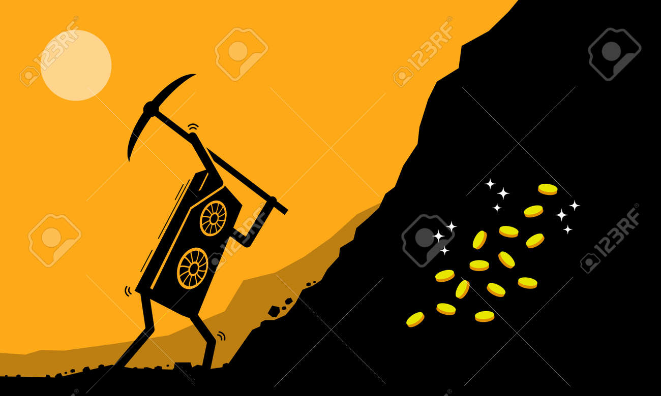 Graphic Card or GPU worker mining digital cryptocurrency coin or money at mining site. Vector illustration clip arts concept of mining crypto currency, digital currencies industry, and GPU farming. - 164853899