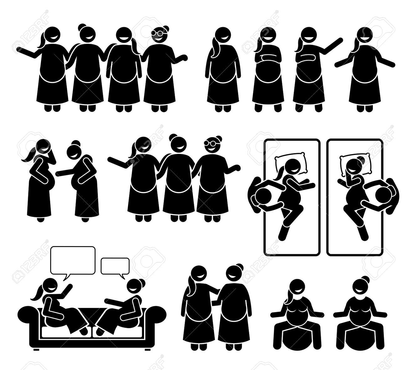 Pregnant mother group and friends together. Vector illustration stick figure of happy women supporting each other during pregnancy. They are relax and feeling positive. - 166632537