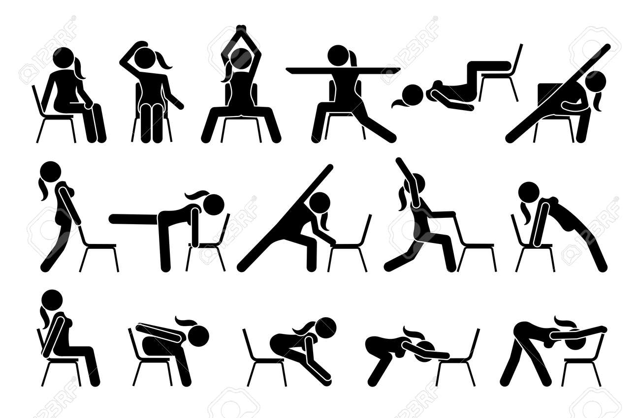 Chair yoga exercises stick figure pictogram icons. Vector illustrations of chair yoga postures, poses, and workout for beginners. - 166429991