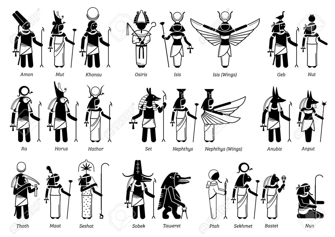 Ancient Egyptian God, Goddess, and deities in stick figure icons. Vector illustration set of popular Egypt deities Amon, Osiris, Isis, Horus, Anubis, Seth, Sobek, Taweret, Ptah, Sekhmet and Bastet. - 168900489