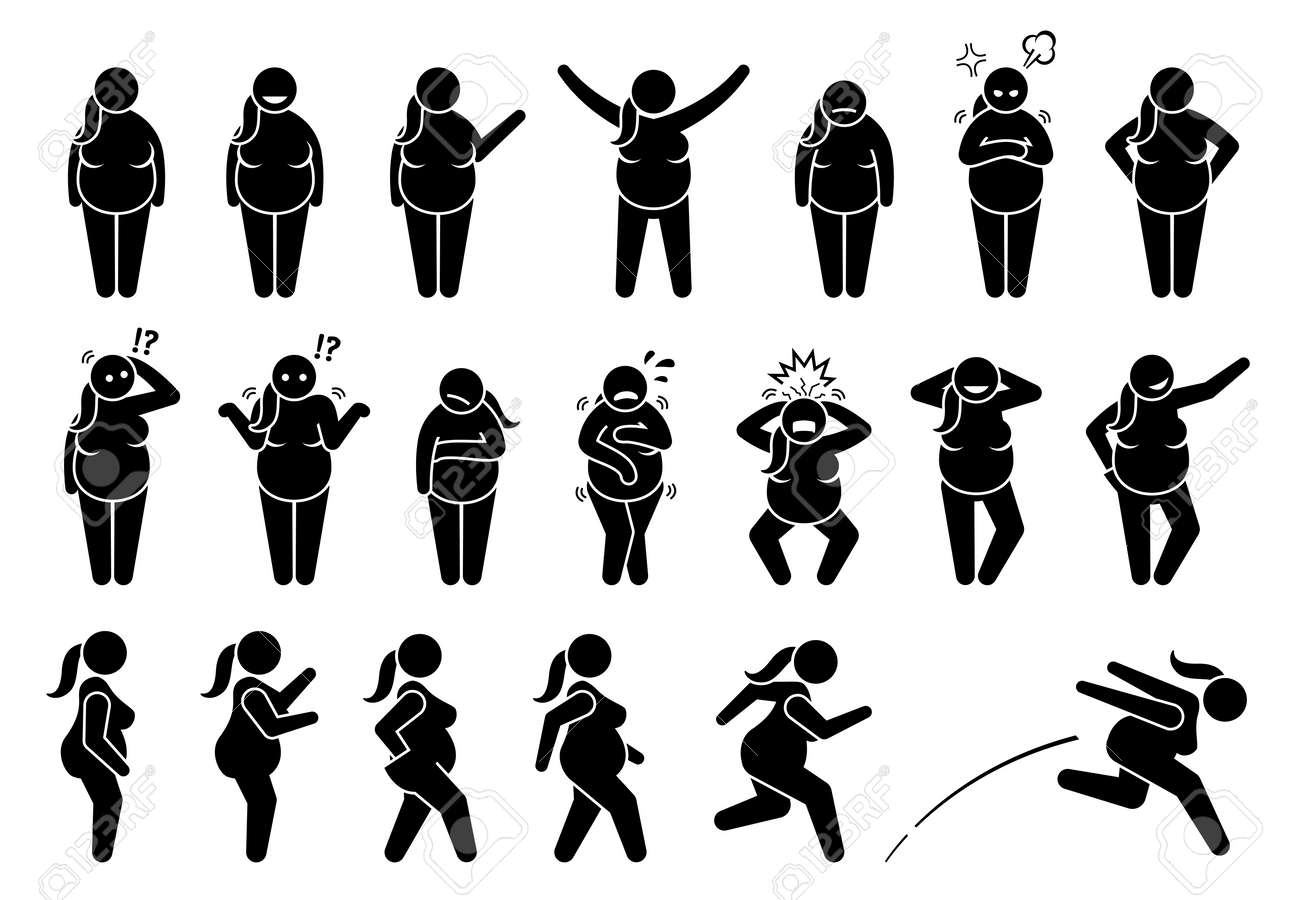 Overweight fat woman basic poses and postures stick figure character pictogram. Vector illustrations depict obese female with different emotions, feelings, poses, actions, and movements. - 168900499
