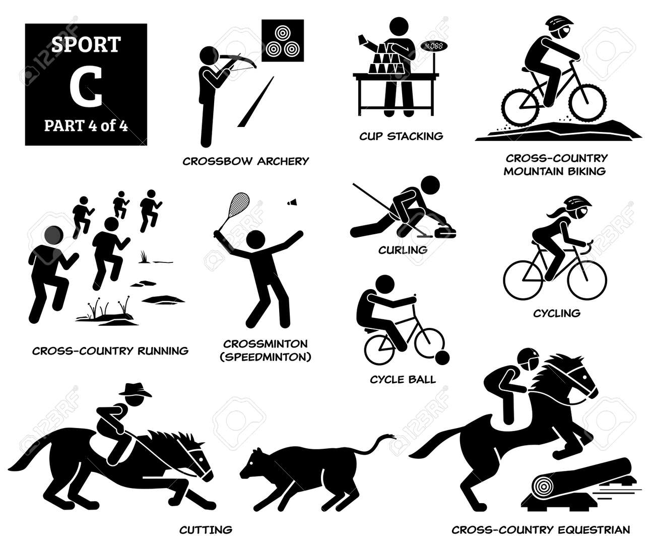 Sport games alphabet C vector icons pictogram. Crossbow archery, cup stacking, cross country mountain biking, running, crossminton speedminton, cycle ball, curling, cycling, cutting, and equestrian. - 171765679