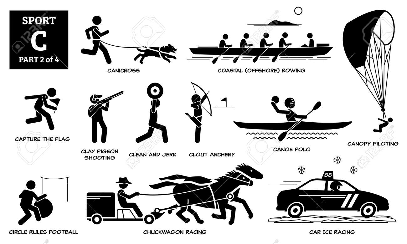Sport games alphabet C vector icons pictogram. Canicross, coastal rowing, capture flag, clay pigeon shooting, clean jerk, clout archery, canoe polo, chuckwagon, car ice racing, and canopy piloting. - 171765651