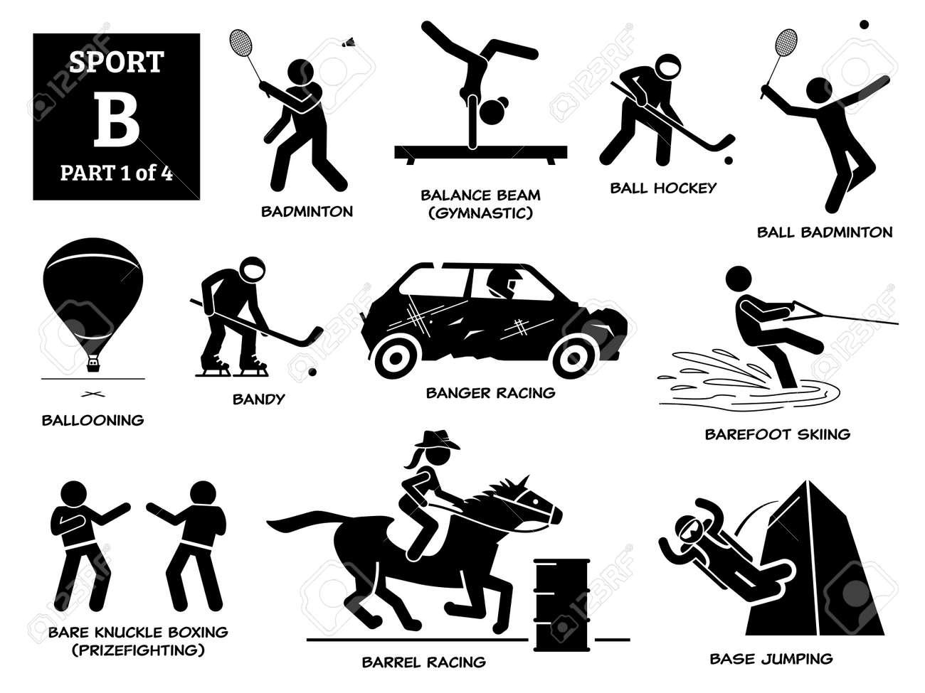 Sports games alphabet B icons pictogram. - 171838571