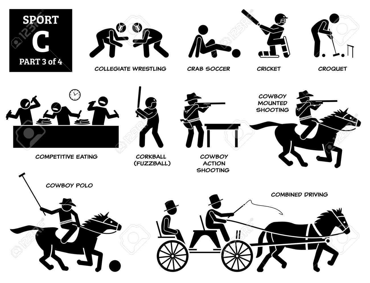 Sports games alphabet C icons pictogram. - 171838575