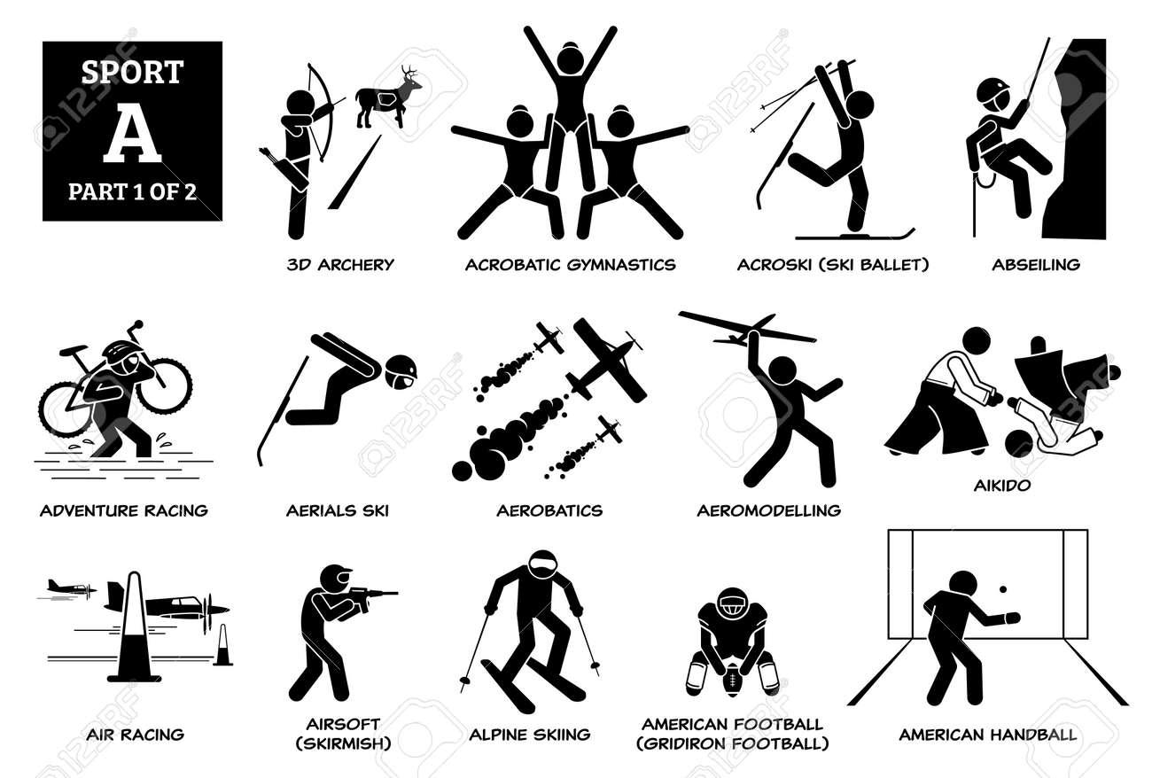 Sports games alphabet A icons pictogram. - 171838573
