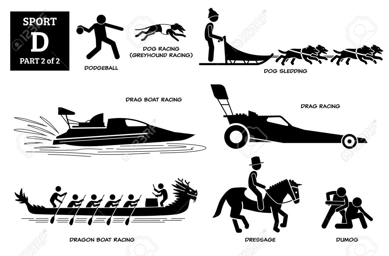 Sports games alphabet D icons pictogram. - 171838576