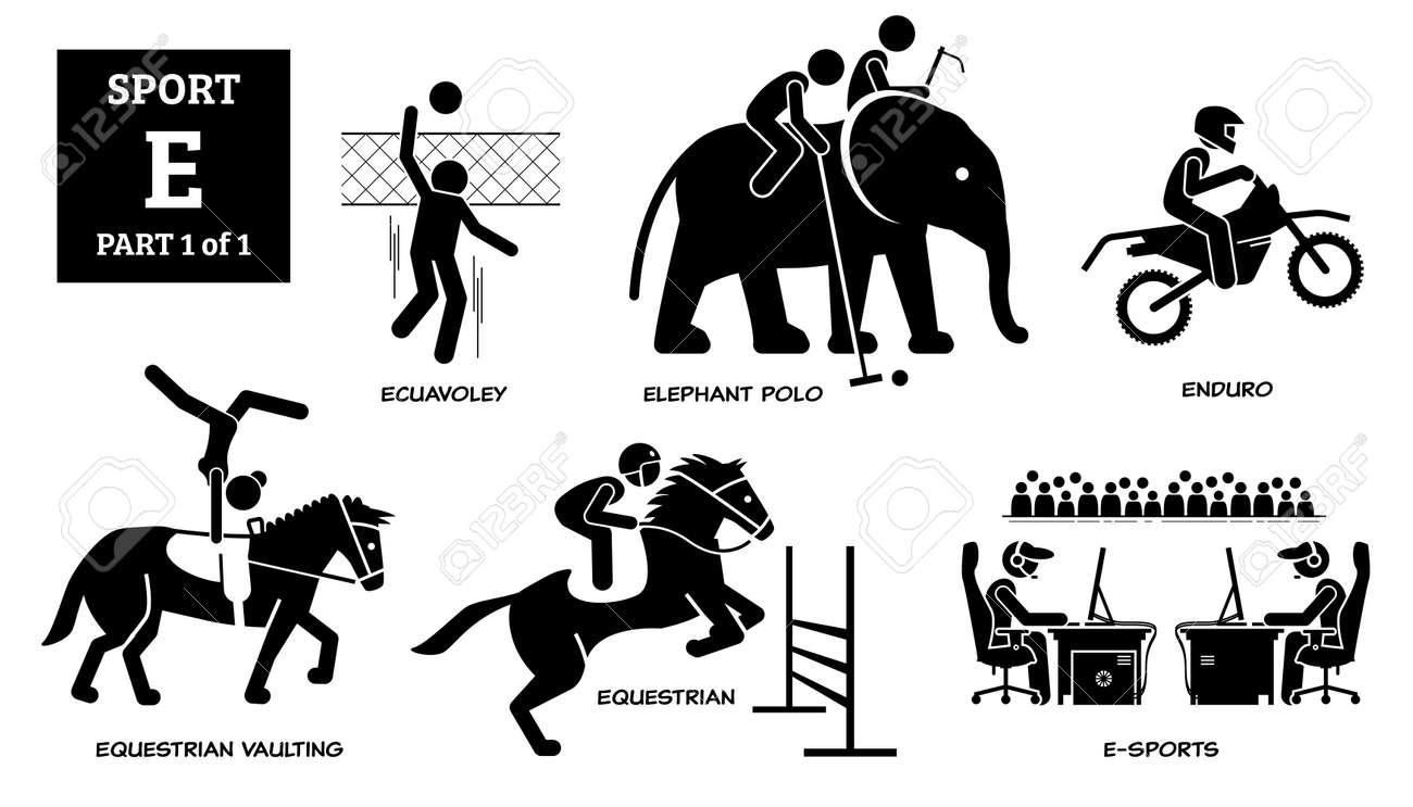 Sports games alphabet E icons pictogram. - 171838581
