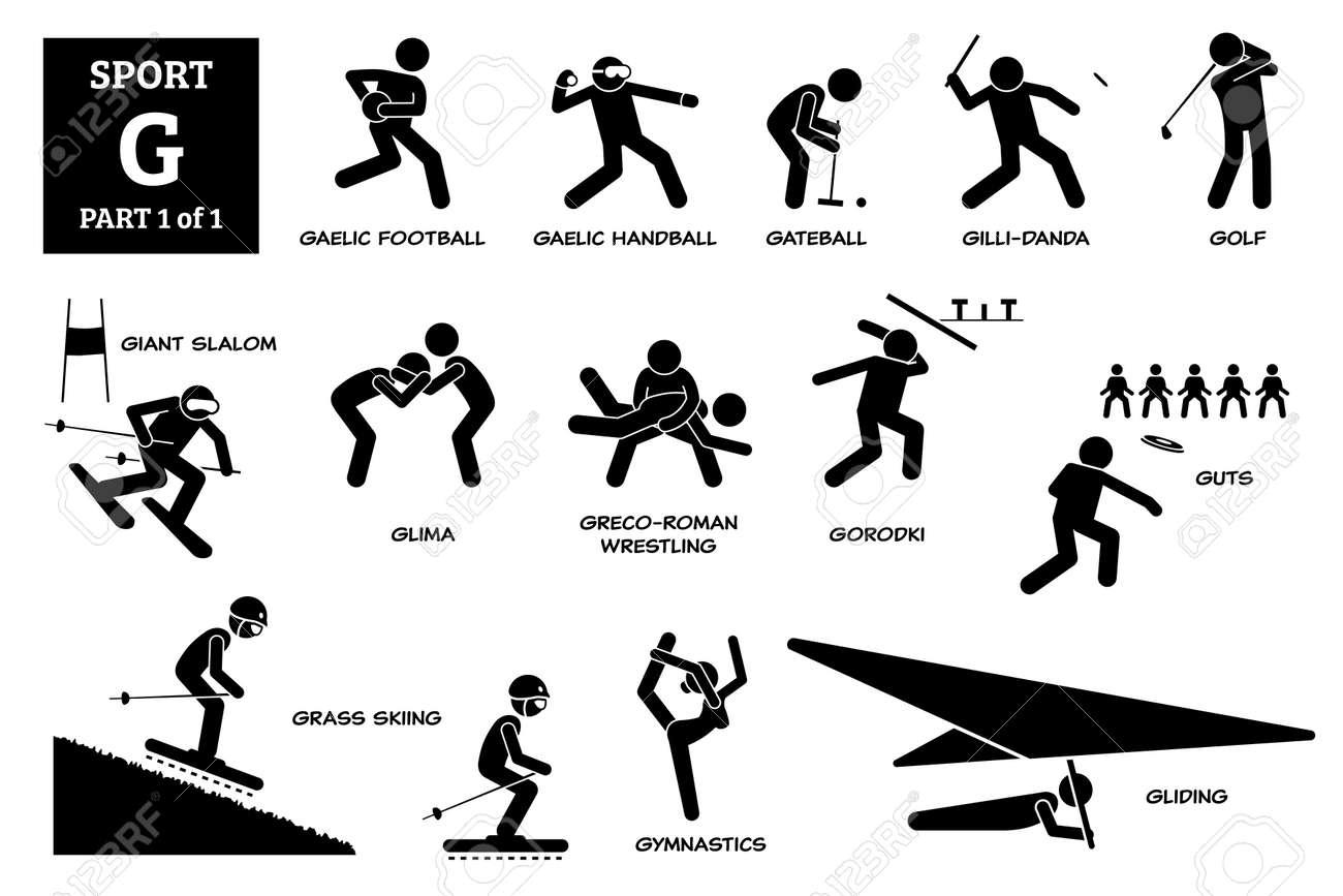Sport games alphabet G vector icons pictogram. Gaelic football, handball, gateball, gillidanda, golf, giant slalom, glima, greco-roman wrestling, gorodki, guts, grass skiing, gymnastics, and gliding. - 173056751