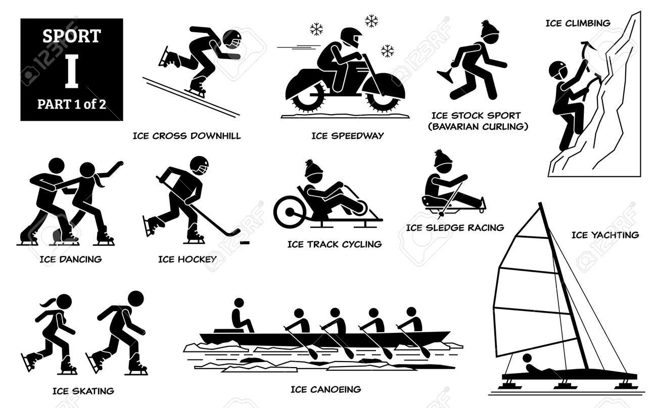 Sport games alphabet I vector icons pictogram. Ice cross downhill, speedway, stock sport, Bavarian curling, climbing, dancing, ice hockey, track cycling, sledge racing, skating, canoeing, and yachting - 171896303