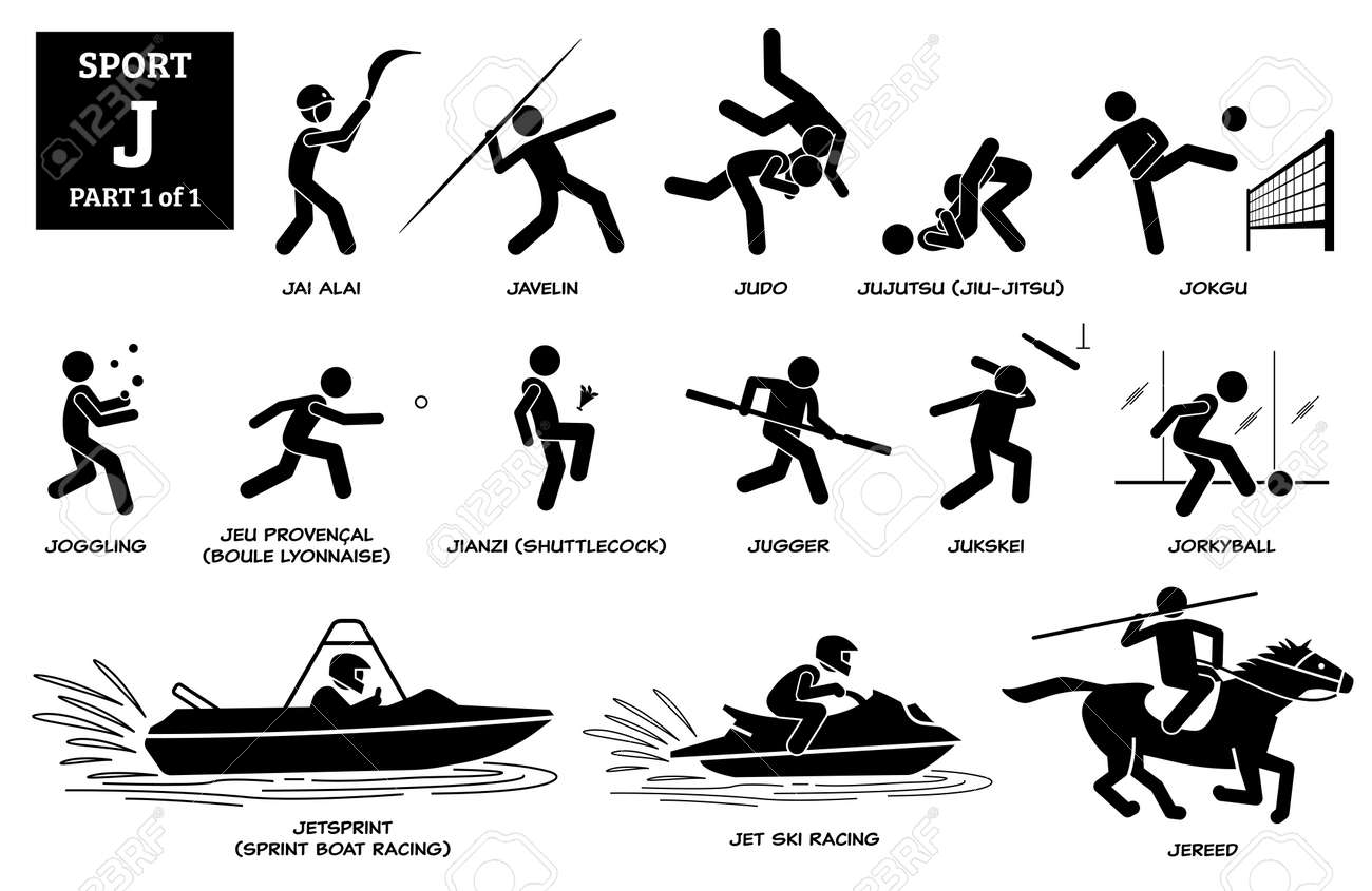 Sport games alphabet J vector icons pictogram. Jai alai, javelin, judo, jujutsu, jiu-jitsu, jokgu, joggling, jugger, jukskei, jorkyball, jetsprint, sprint boat racing, jet ski racing, and jereed. - 173056752