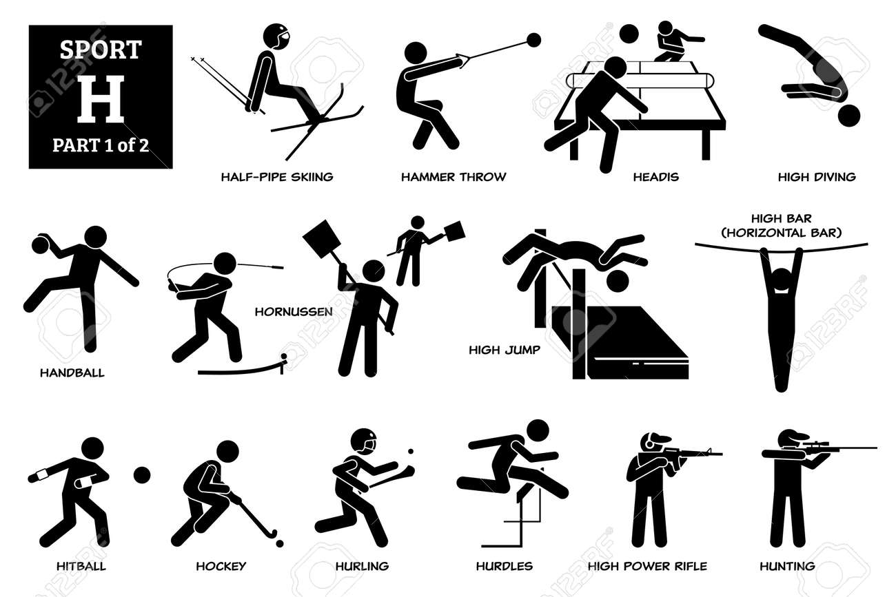 Sport games alphabet H vector icons pictogram. Half-pipe skiing, hammer throw, headis, high diving, handball, hornussen, high jump, horizontal high bar, hitball, hockey, hurling, hurdles, and hunting. - 173056753