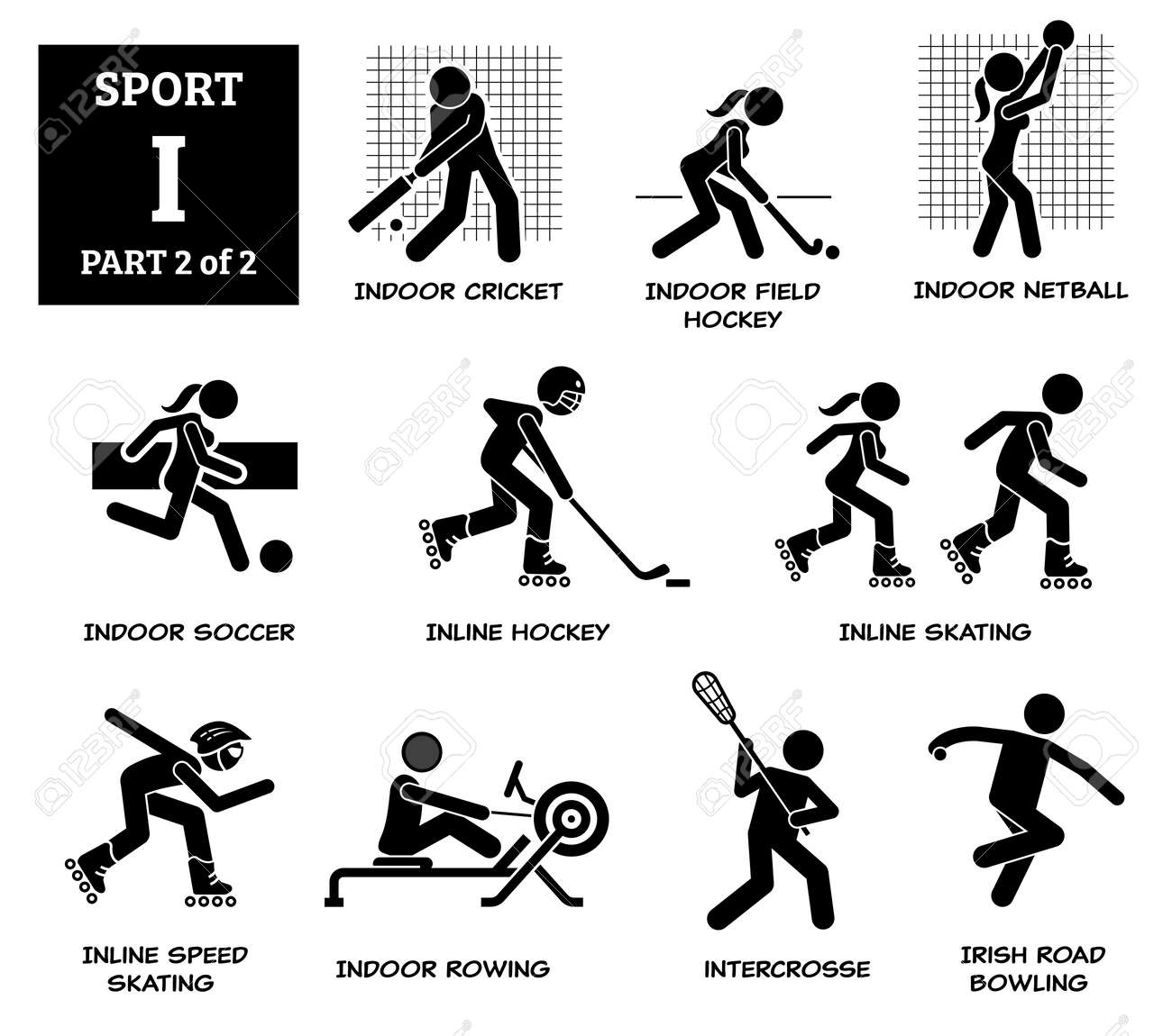 Sport games alphabet I vector icons pictogram. Indoor cricket, field hockey, netball, indoor soccer, inline hockey, inline skating, speed skating, rowing, intercrosse, Irish road bowling. - 173056754