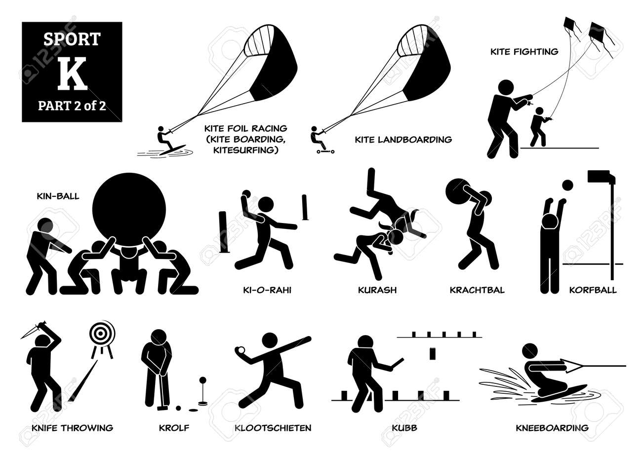 Sport games alphabet K vector icons pictogram. Kite foil racing, kite landboarding, kite fighting, kin-ball, ki-o-rahi, kurash, krachtbal, korfball, knife throwing, krolf, kubb, and kneeboarding. - 172367785