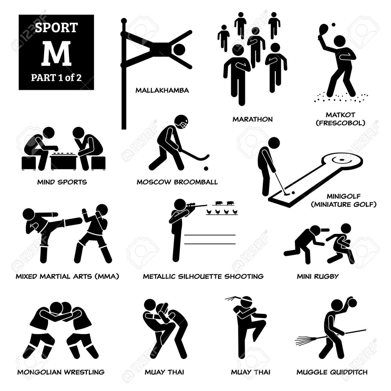Sport games alphabet M vector icons pictogram. Mallakhamba, marathon, matkot, frescobol, mind sports, Moscow broomball, mini golf, miniature golf, MMA, mini rugby, muay thai, and metallic shooting. - 172367786