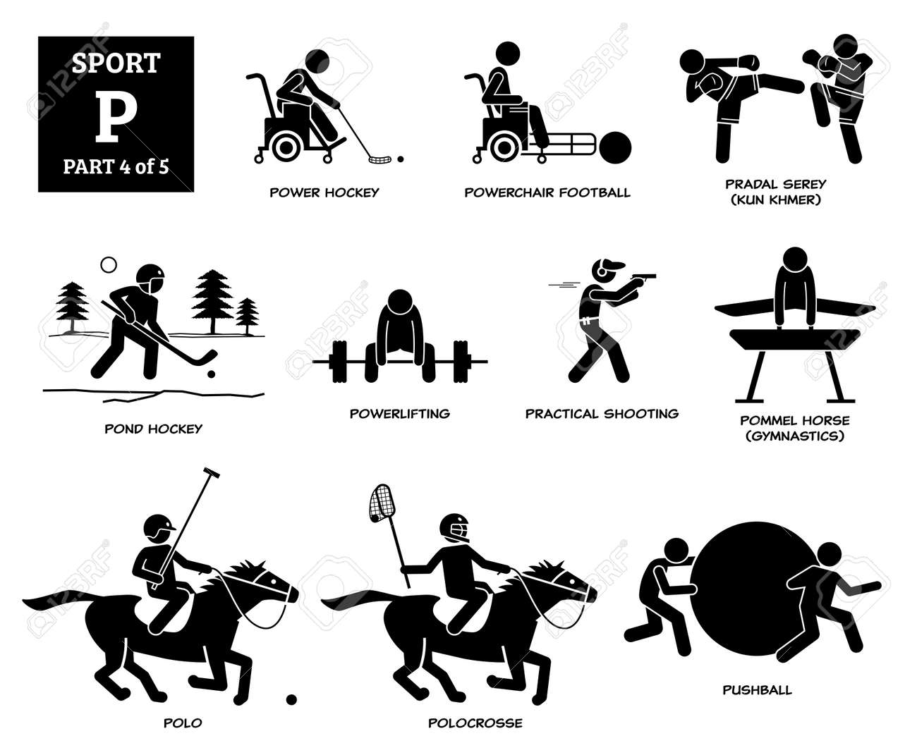 Sport games alphabet P vector icons pictogram. Power hockey, powerchair football, pradal serey, pond hockey, powerlifting, practical shooting, pommel horse, horse polo, polocrosse, and pushball. - 172034262