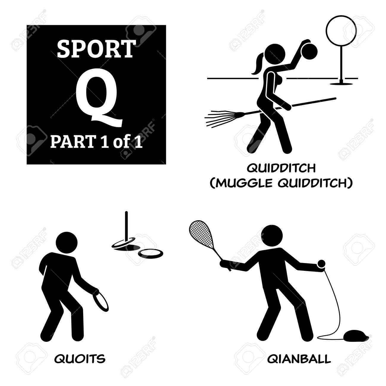 Sport games alphabet Q vector icons pictogram. Quidditch, muggle quidditch, quoits, and qianball. - 172367789