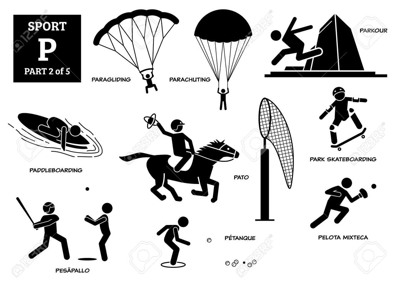 Sport games alphabet P vector icons pictogram. Paragliding, parachuting, parkour, paddleboarding, pato, park skateboarding, pesapallo, petanque, and pelota mixteca. - 172078008