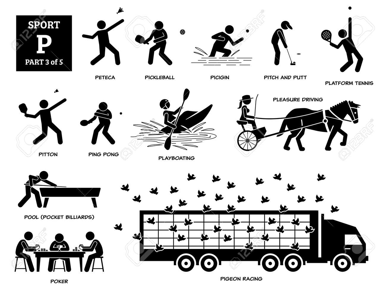 Sport games alphabet P vector icons pictogram. Peteca, pickleball, picigin, pitch and putt, platform tennis, pitton, playboating, pleasure driving, pool, poker, and pigeon racing. - 172078014