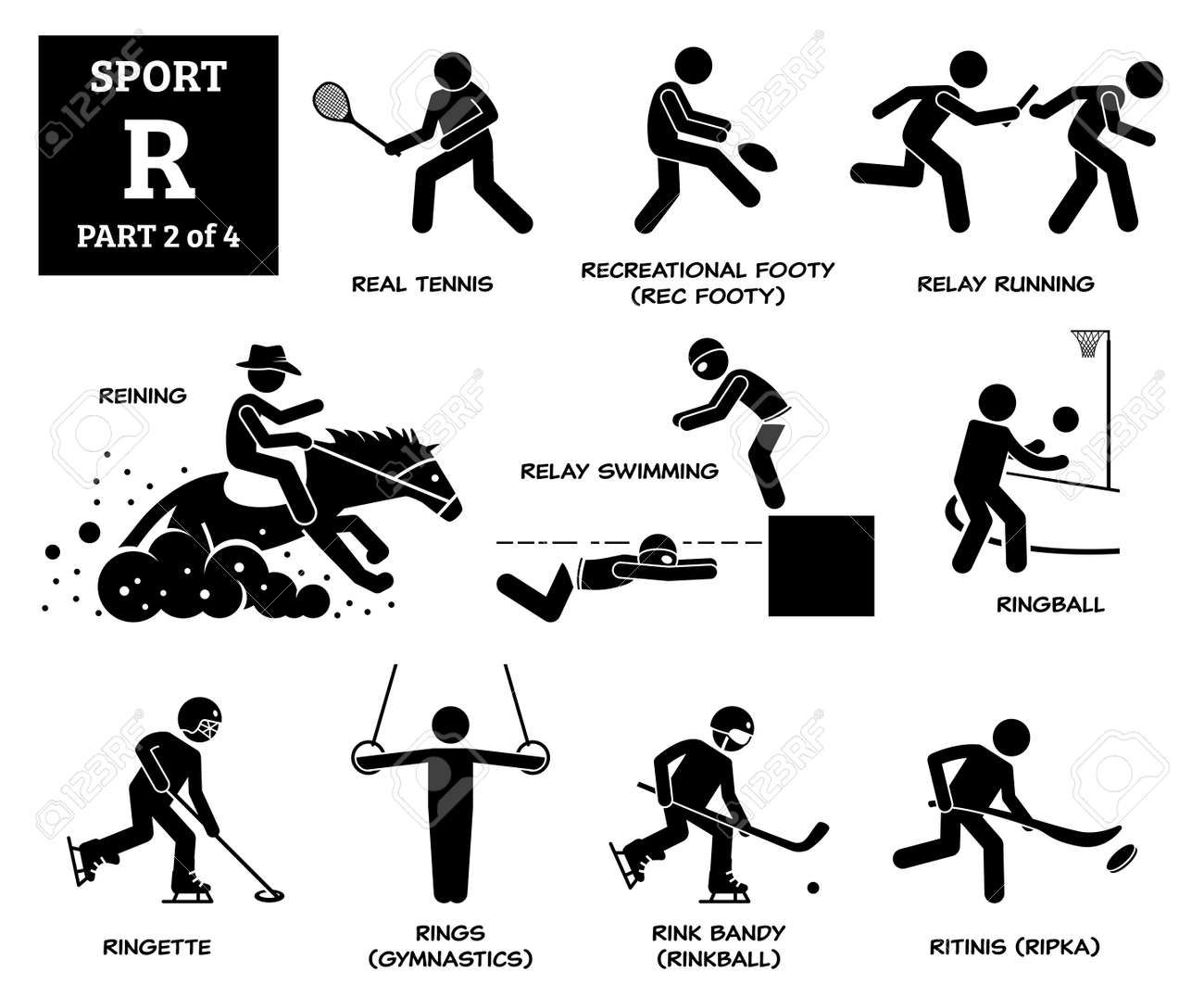 Sport games alphabet R vector icons pictogram. Real tennis, recreational footy, relay running, reining, relay swimming, ringball, ringette, rings gymnastic, rink bandy, and ritinis. - 172074515