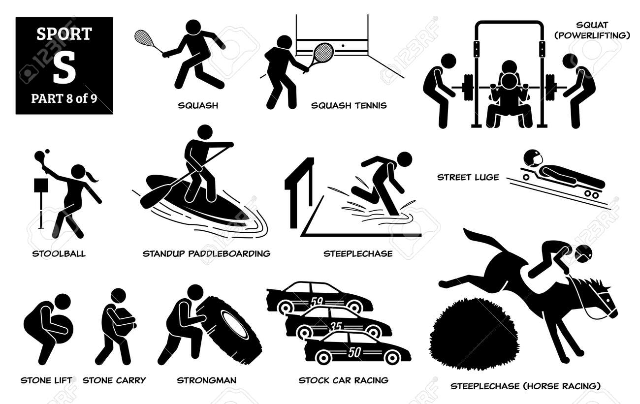Sport games alphabet S vector icons pictogram. Squash, squash tennis, squat, stoolball, standup paddleboarding, steeplechase horse, street luge, stone lift carry, strongman, and stock car racing. - 172367790