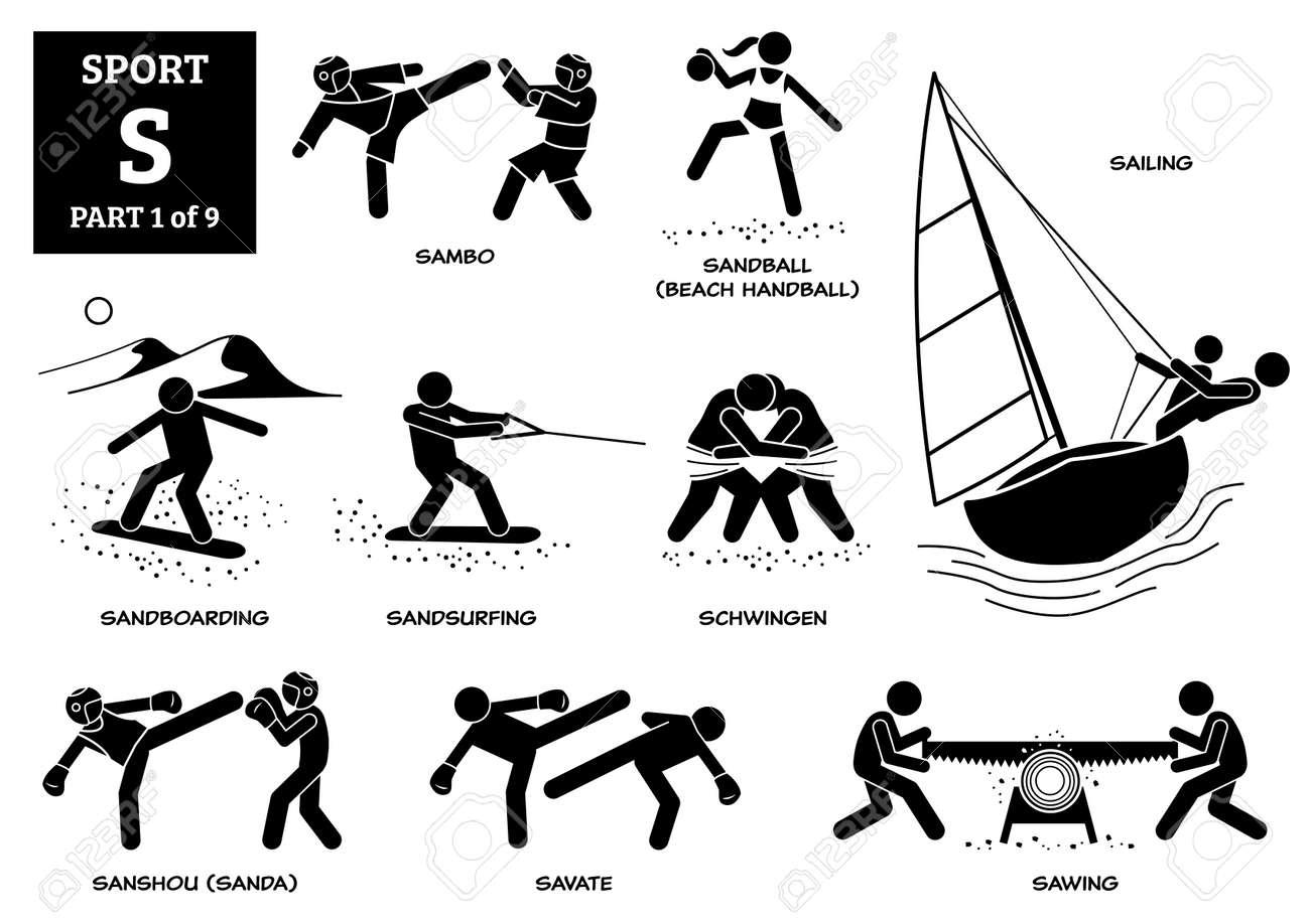 Sport games alphabet S vector icons pictogram. Sambo, sandball, beach handball, sailing, sandboarding, sandsurfing, schwingen, sanshou, sanda, savate, and sawing. - 172154017