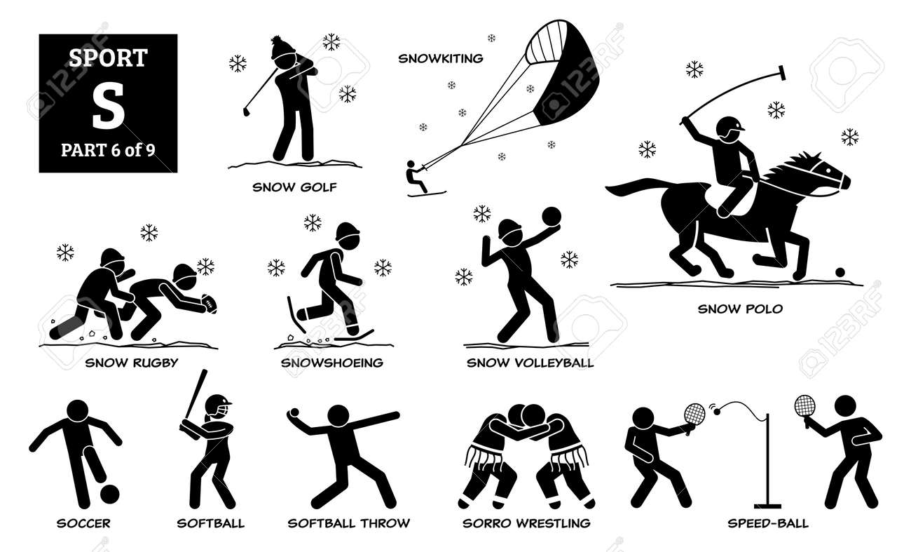 Sport games alphabet S vector icons pictogram. Snow golf, snowkiting, snow rugby, snowshoeing, snow volleyball, snow polo, soccer, softball, softball throw, sorro wrestling, and speed-ball. - 172154022