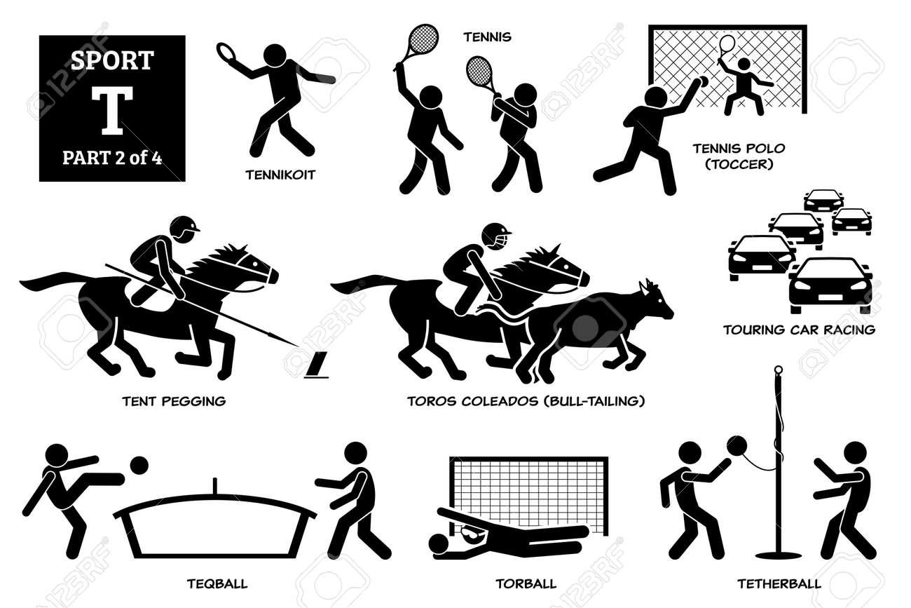 Sport games alphabet T vector icons pictogram. Tennikoit, tennis, tennis polo, toccer, tent pegging, toros coleados, touring car racing, teqball, torball, and tetherball. - 172241770