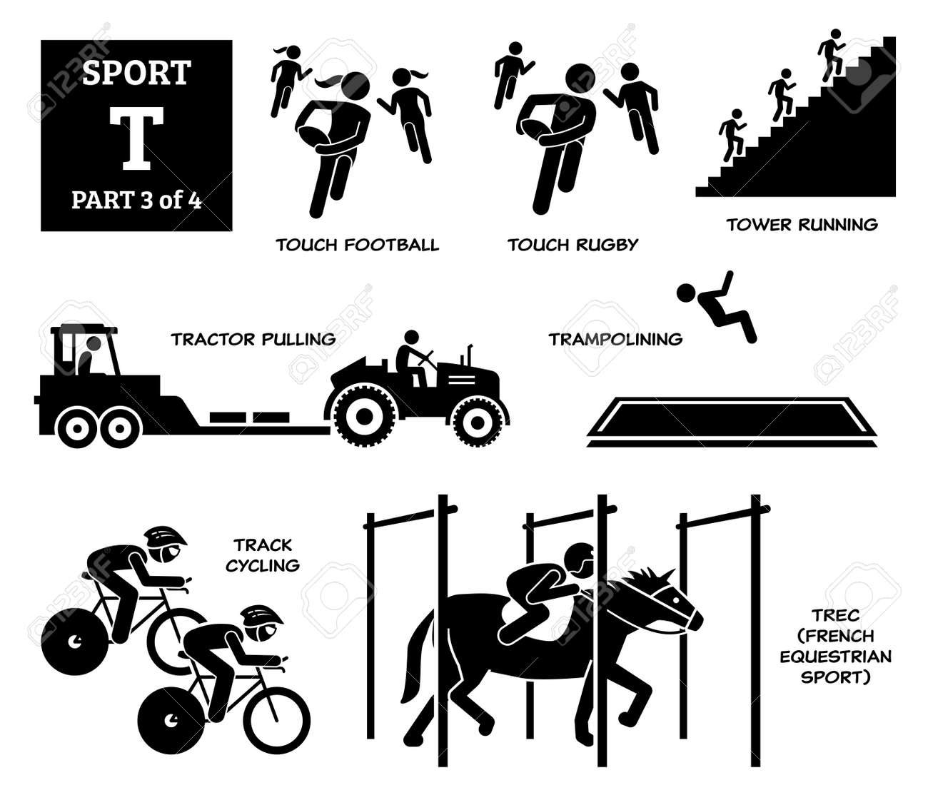 Sport games alphabet T vector icons pictogram. Touch football, touch rugby, tower running, tractor pulling, trampolining, track cycling, and TREC French equestrian sport. - 172241758
