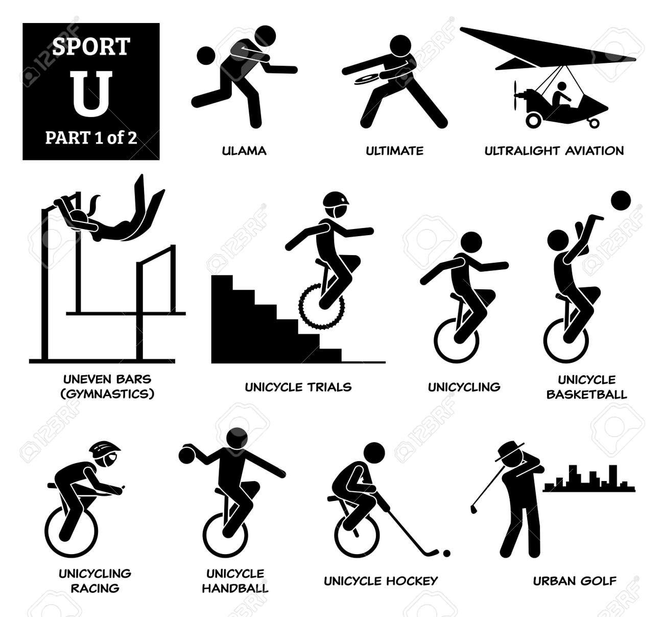 Sport games alphabet U vector icons pictogram. Ulama, ultimate, ultralight aviation, uneven bars gymnastic, unicycle trials, unicycling, unicycle basketball, racing, handball, hockey, and urban golf. - 172367797