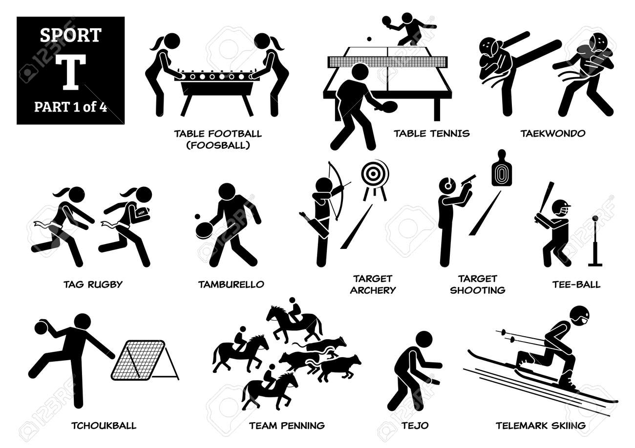 Sport games alphabet T vector icons pictogram. Table football, table tennis, taekwondo, tag rugby, tamburello, target archery, shooting, tee-ball, tchoukball, team penning, tejo and telemark skiing. - 172367799