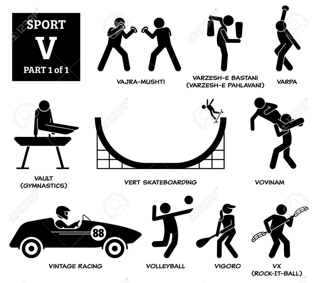 Sport games alphabet V vector icons pictogram. Vajra-mushti, varzesh-e Bastani, varpa, vault gymnastic, vert skateboarding, vovinam, vintage racing, volleyball, vigoro, and vx rock-it-ball. - 172367802