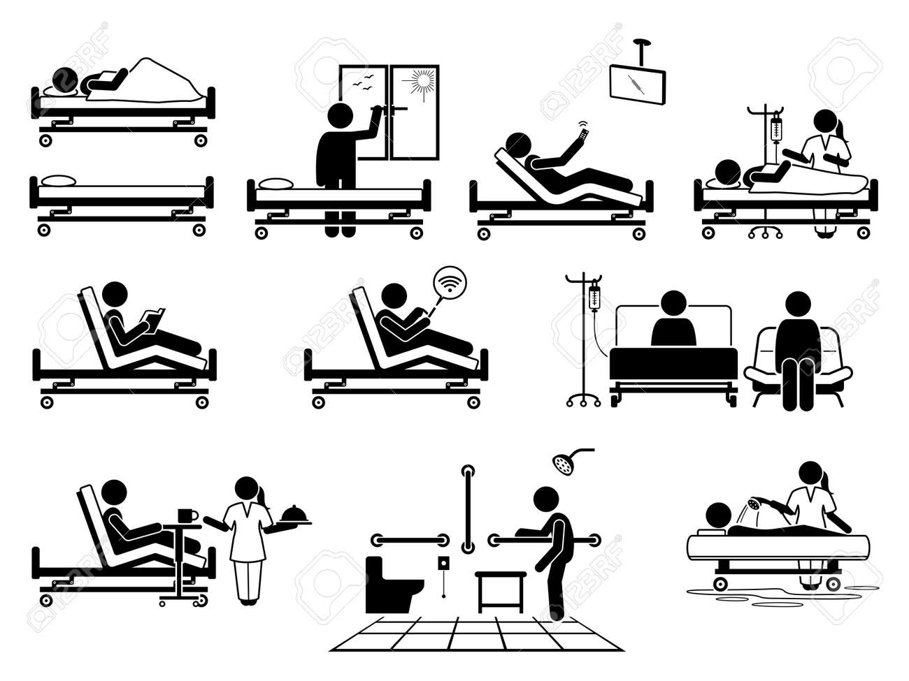 Patient at hospital room with many facilities stick figure pictogram icons. Vector illustrations of patient, hospital bed, window, television, nurse, wifi, visitor, food serving, toilet and bathroom. - 173408486