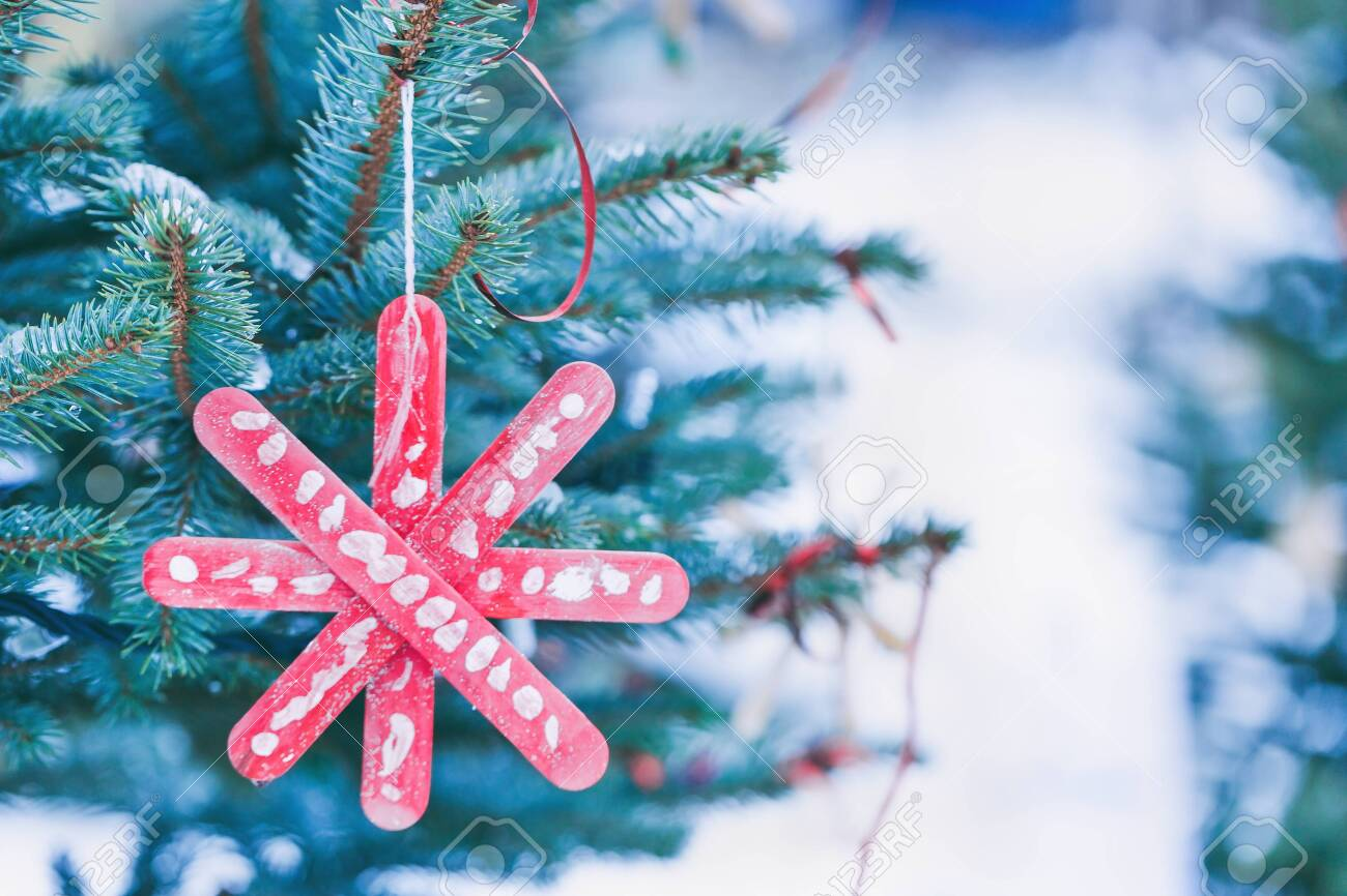 Handmade Decoration On A Christmas Tree Outdoor Diy Creative Stock Photo Picture And Royalty Free Image Image 133537502