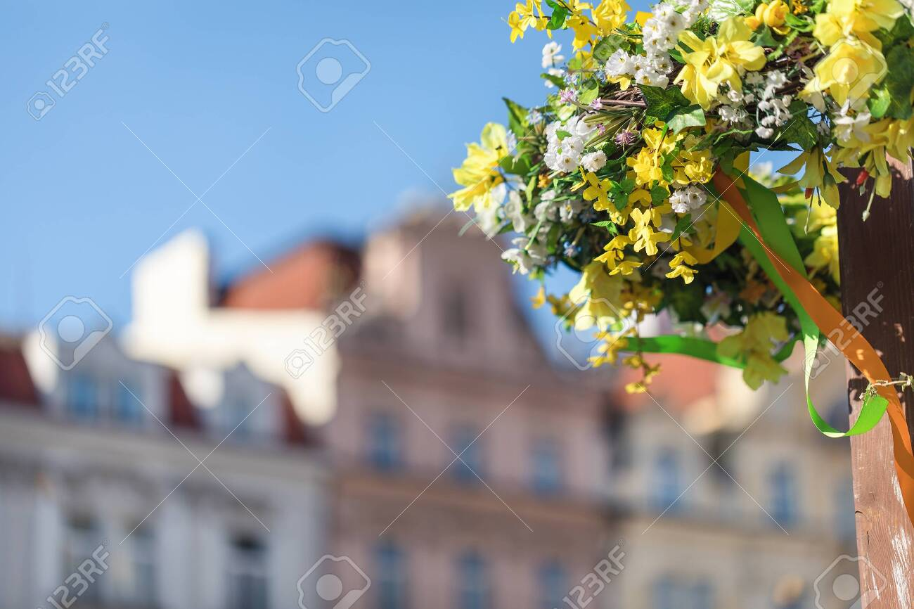 Easter Outdoor Flower Decorations On The Streets Of Prague