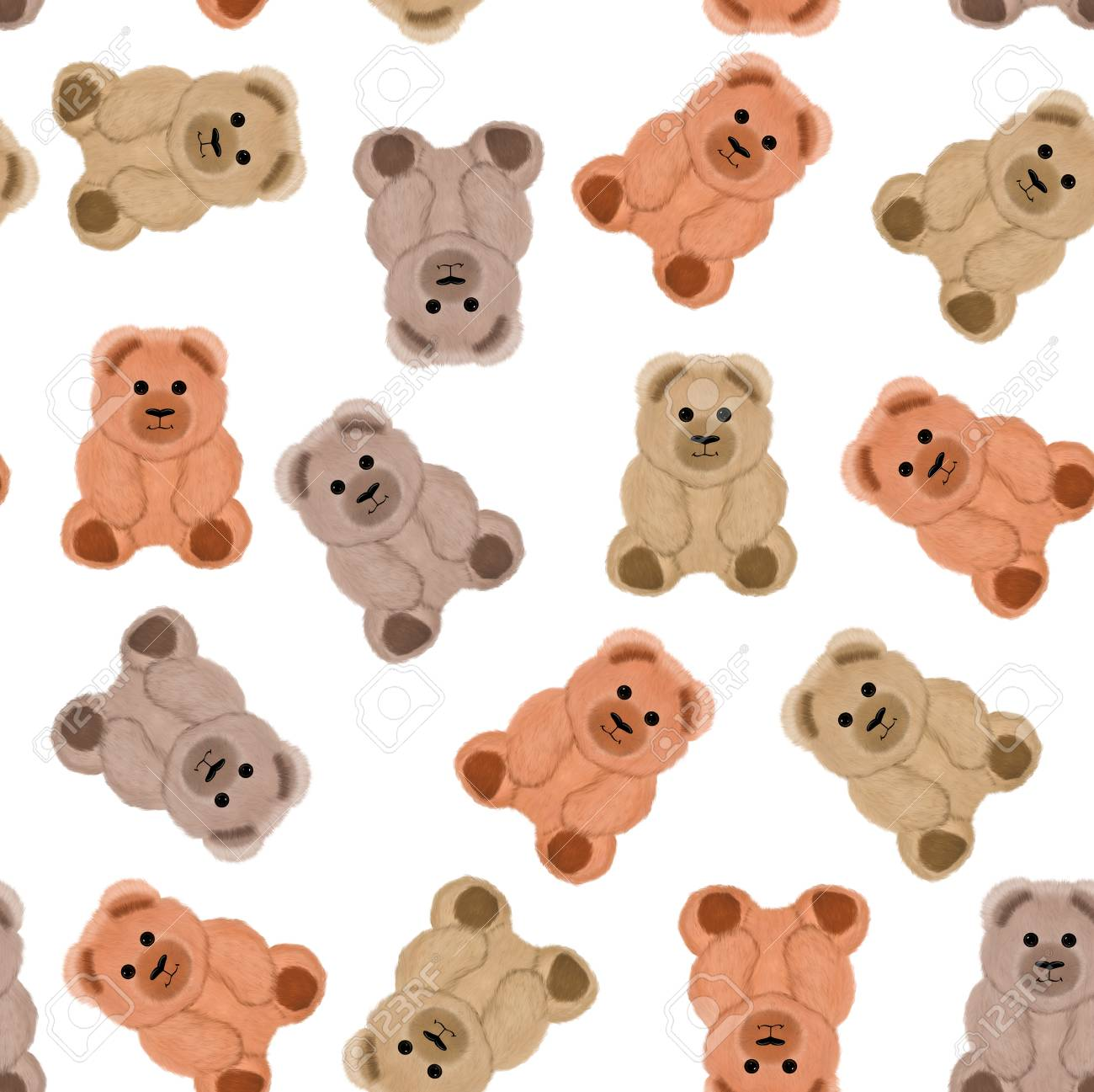 Seamless pattern and background with teddy bears  On a white